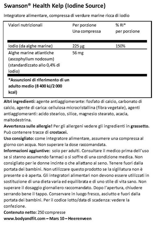 Kelp (fonte di iodio) Nutritional Information 1