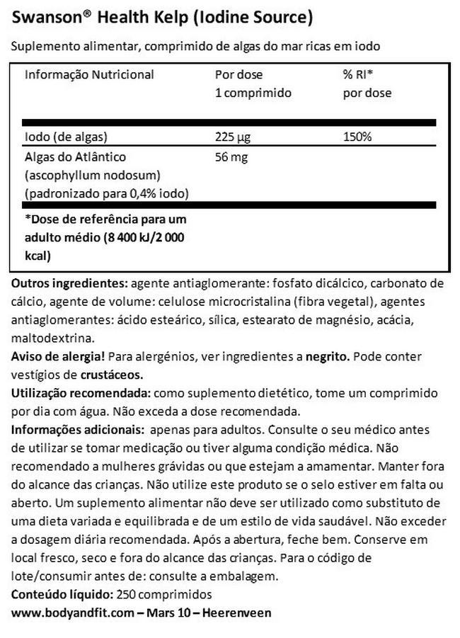 Algas Nutritional Information 1