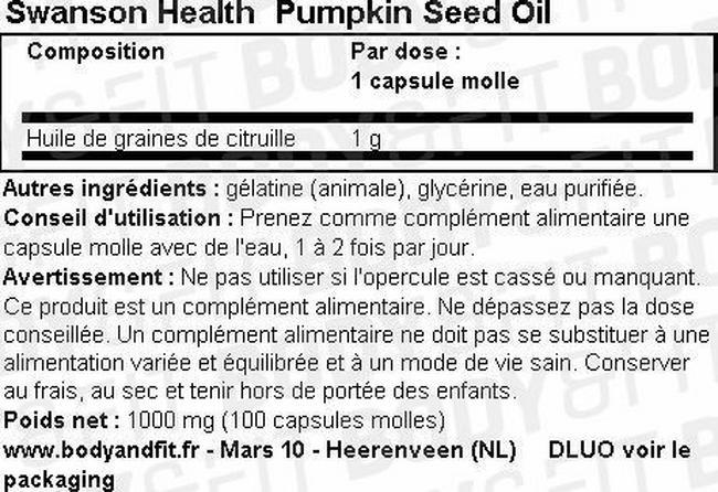 Huile de graines de courge 1000mg Nutritional Information 1