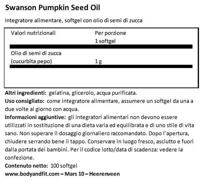 Olio di Semi di Zucca 1000 mg Nutritional Information 1