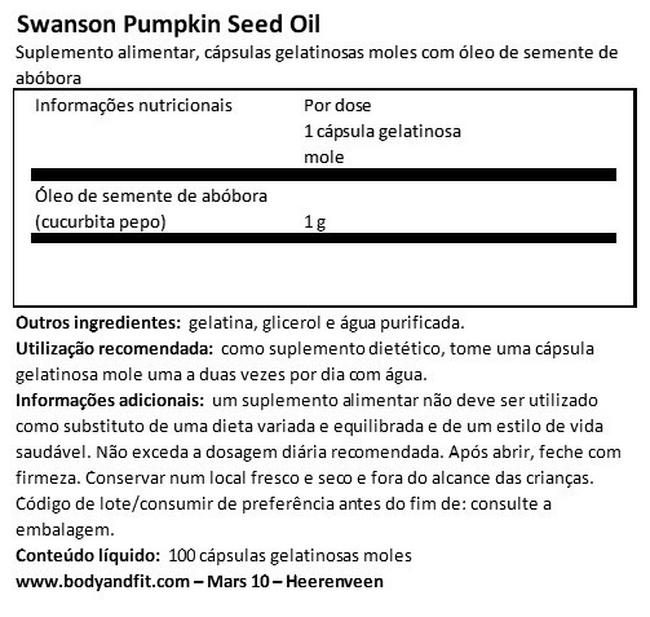 Pumpkin Seed Oil 1000mg Nutritional Information 1