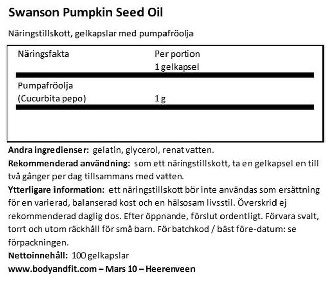Pumpkin Seed Oil 1000 mg Nutritional Information 1