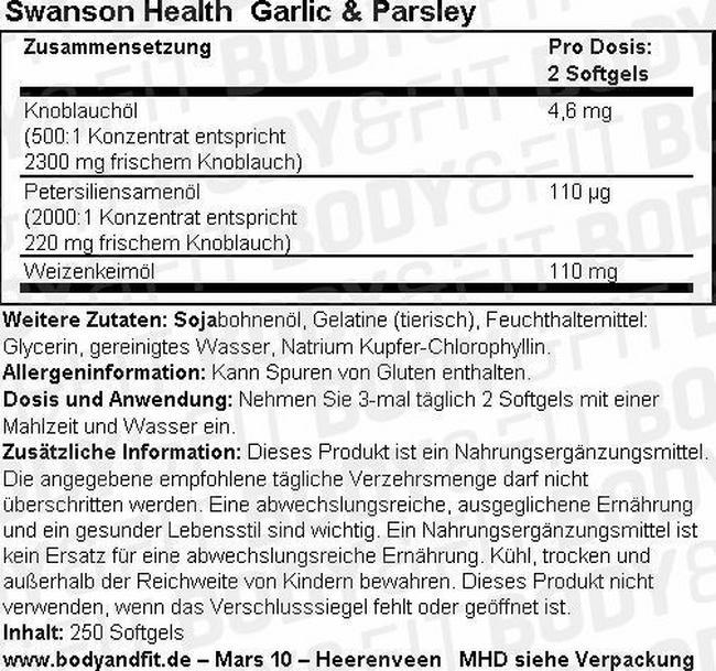 Garlic & Parsley Nutritional Information 1