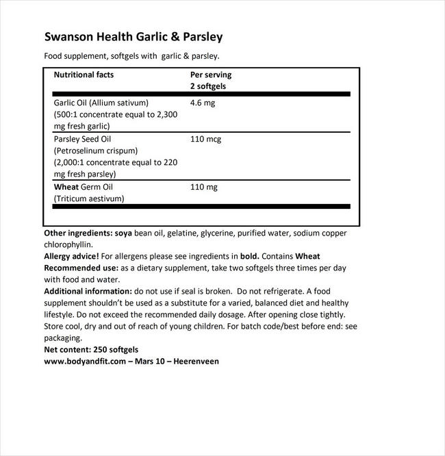 Garlic & Parsley Nutritional Information 1