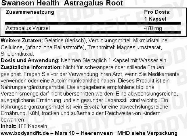 Astragalus Root 470 mg Nutritional Information 1