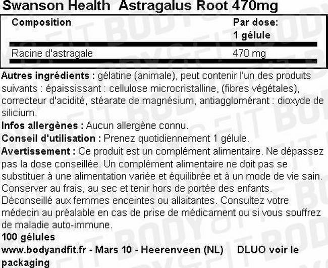 Racine d'Astragalus 470mg Nutritional Information 1