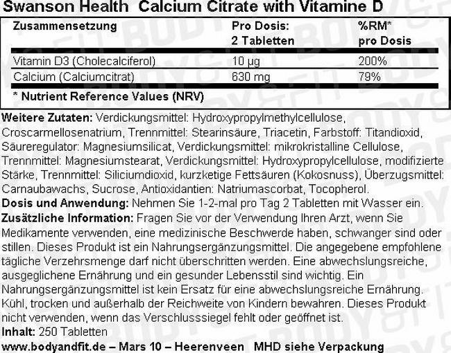 Calcium Citrate with Vitamine D Nutritional Information 1