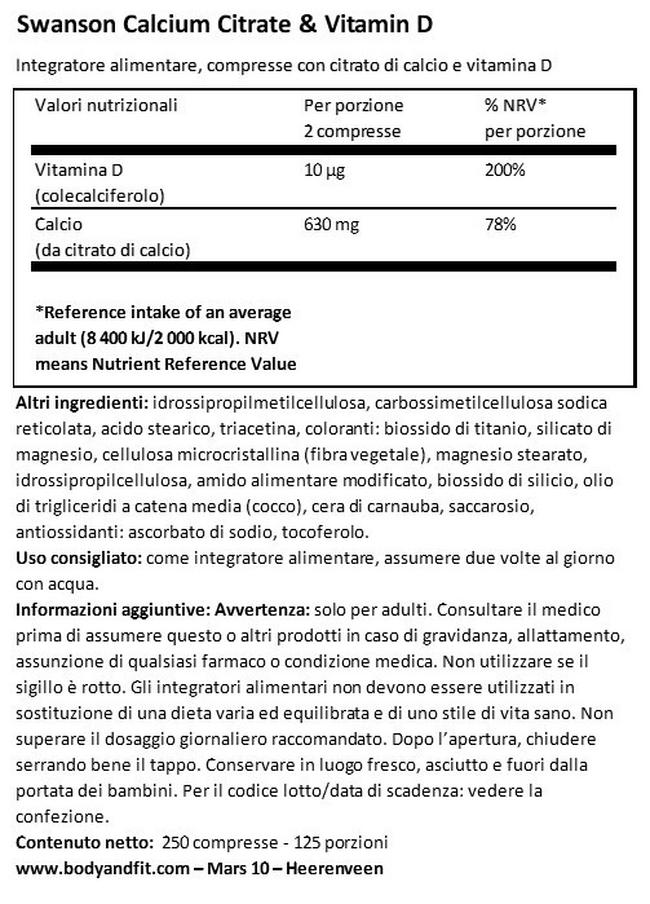 Calcio Citrato con Vitamina D Nutritional Information 1