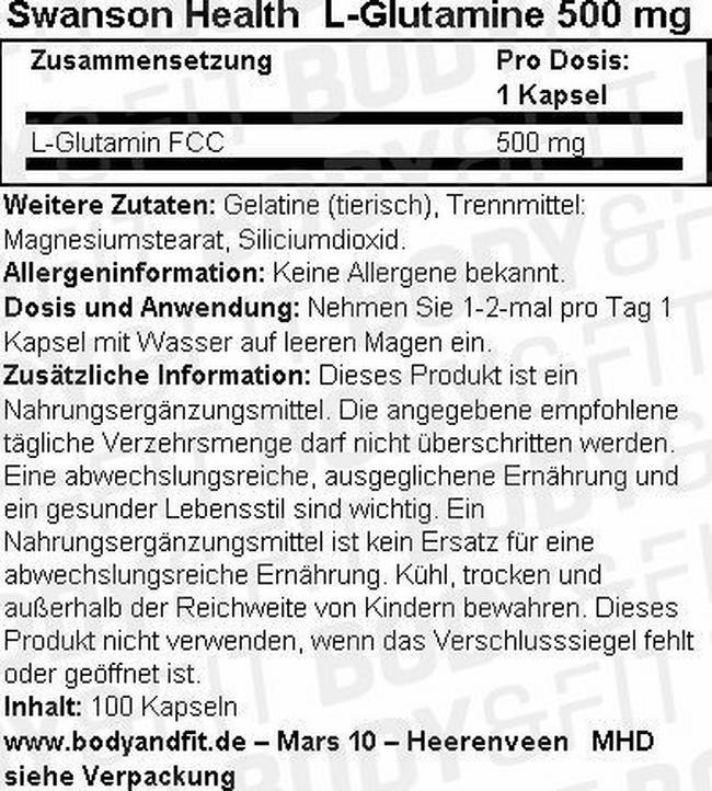 L-Glutamine Kapseln 500 mg Nutritional Information 1