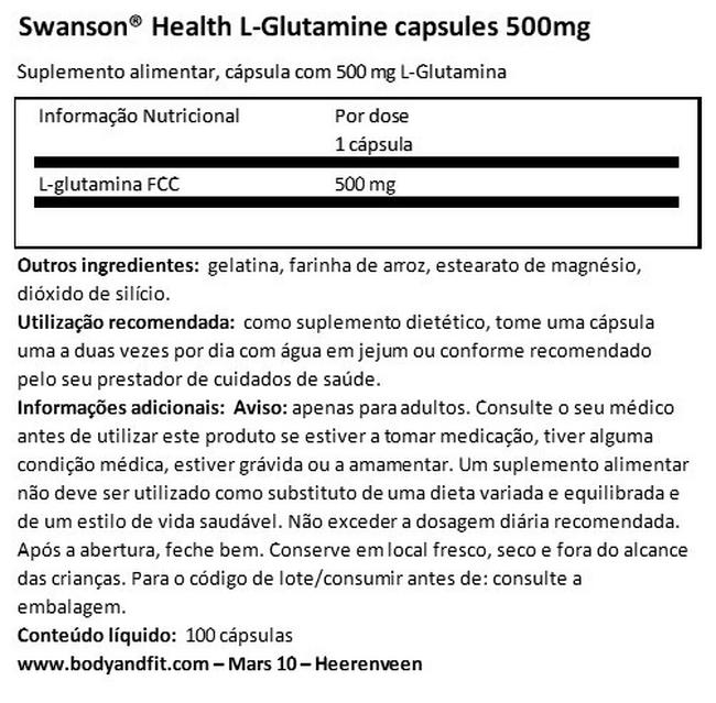 L-Glutamine capsules 500 mg Nutritional Information 1