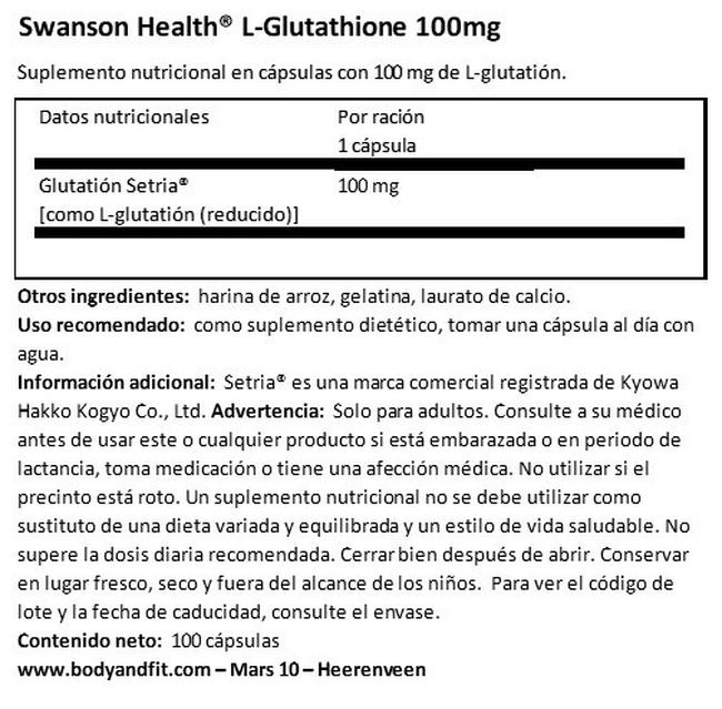L-Glutathione 100mg Nutritional Information 1