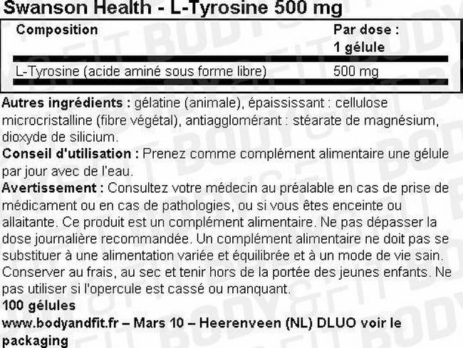 L-Tyrosine 500mg Nutritional Information 1