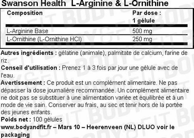 L-Arginine & L-Ornithine Nutritional Information 2