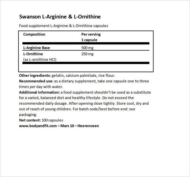 L-Arginine & L-Ornithine Nutritional Information 4