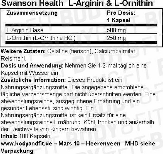 L-Arginine & L-Ornithine Nutritional Information 1