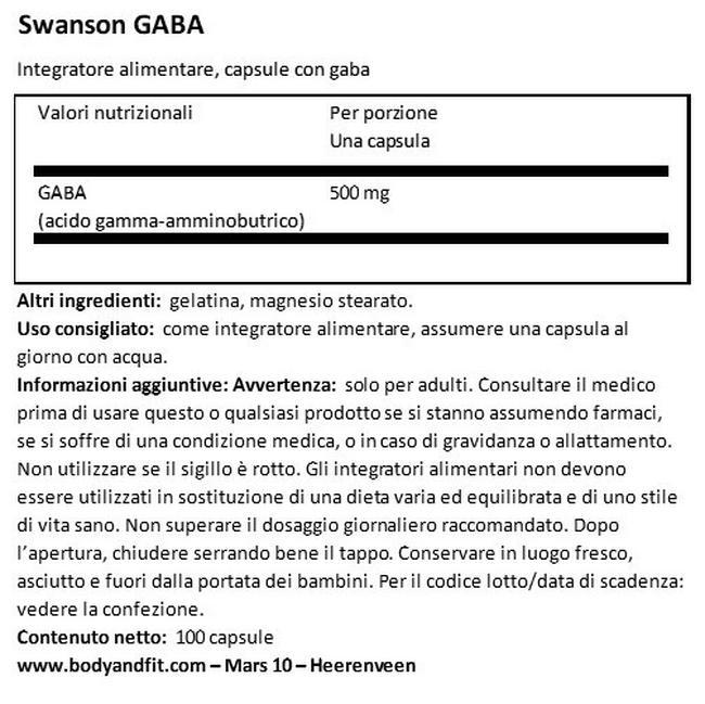Gaba 500mg Nutritional Information 1
