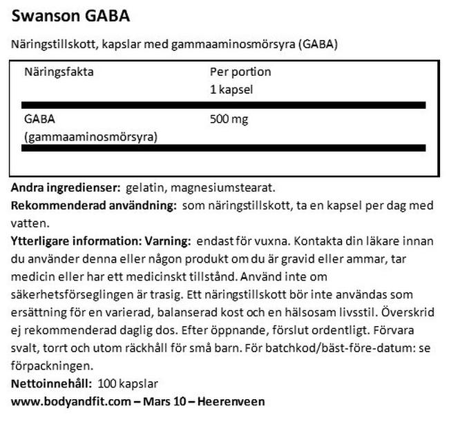 GABA 500 mg Nutritional Information 1