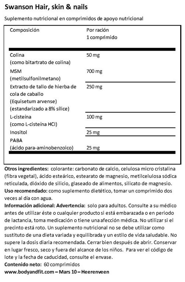 Hair, Skin & Nails Tabs Nutritional Information 1