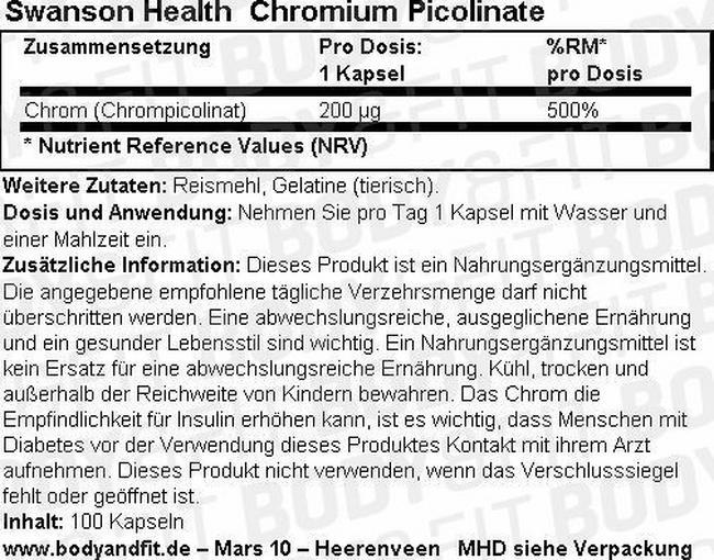 Chromium Picolinat 200 mcg Nutritional Information 1