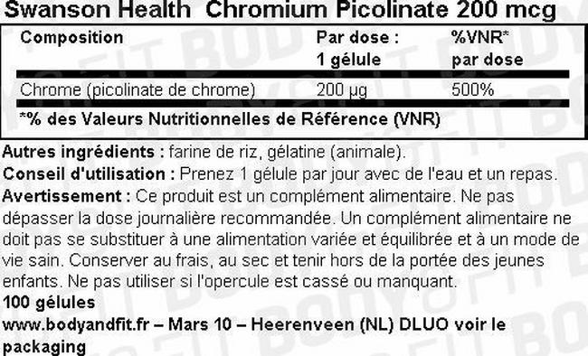 Chromium Picolinate 200mcg Nutritional Information 1