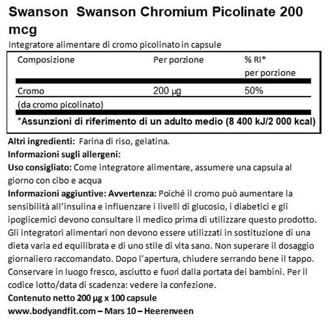 Chromium Picolinate 200 mcg Nutritional Information 1