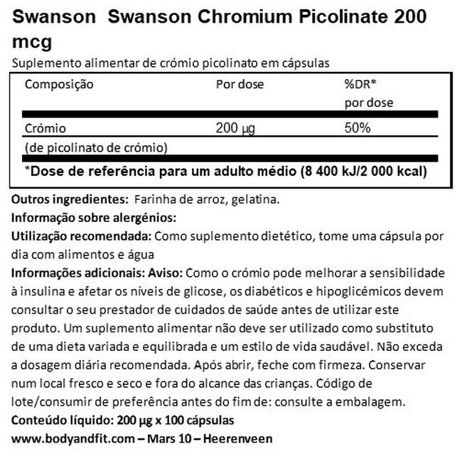 Chromium Picolinate 200mg Nutritional Information 1
