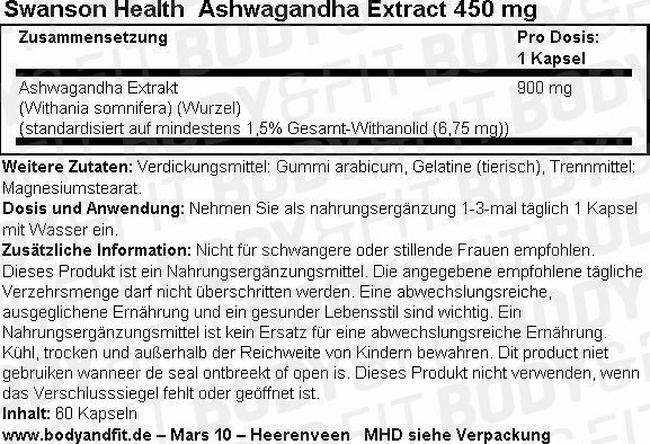 Ashwagandha 450 mg Nutritional Information 1