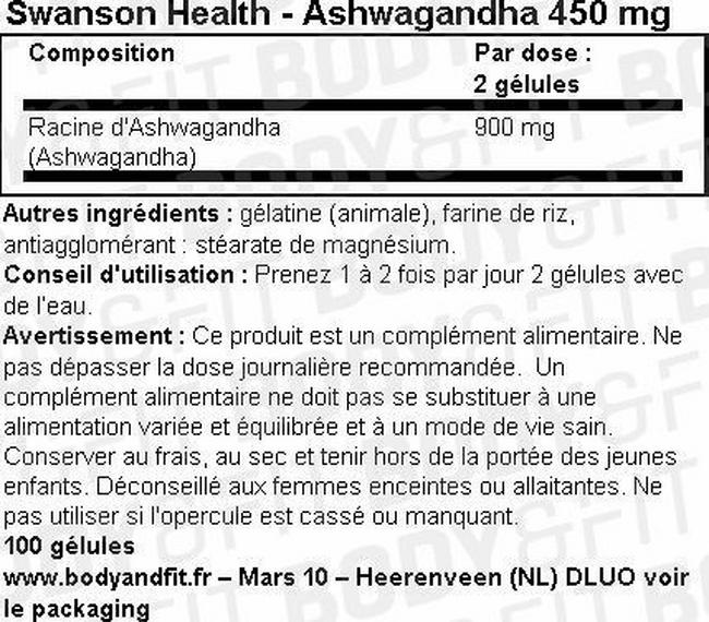 Ashwagandha 450mg Nutritional Information 1