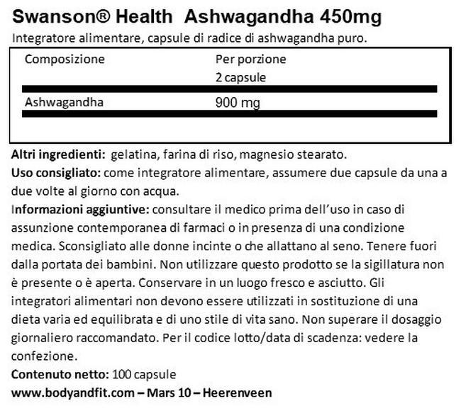 Ashwagandha 450mg Nutritional Information 1