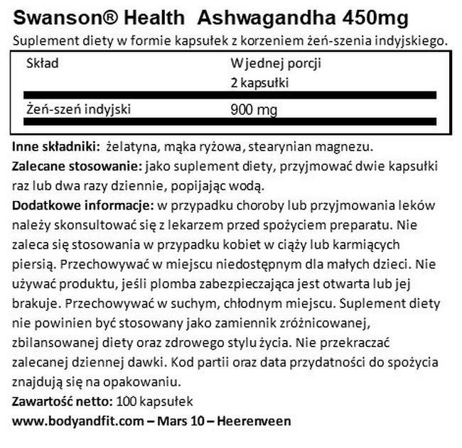 Ashwagandha 450 mg Nutritional Information 1
