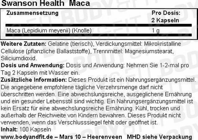 Maca Kapseln 500 mg Nutritional Information 1