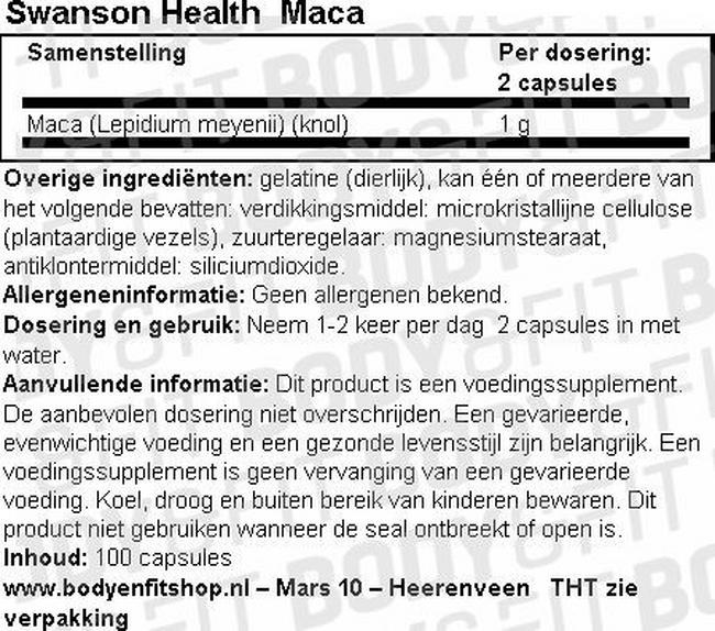Maca capsules 500mg Nutritional Information 1