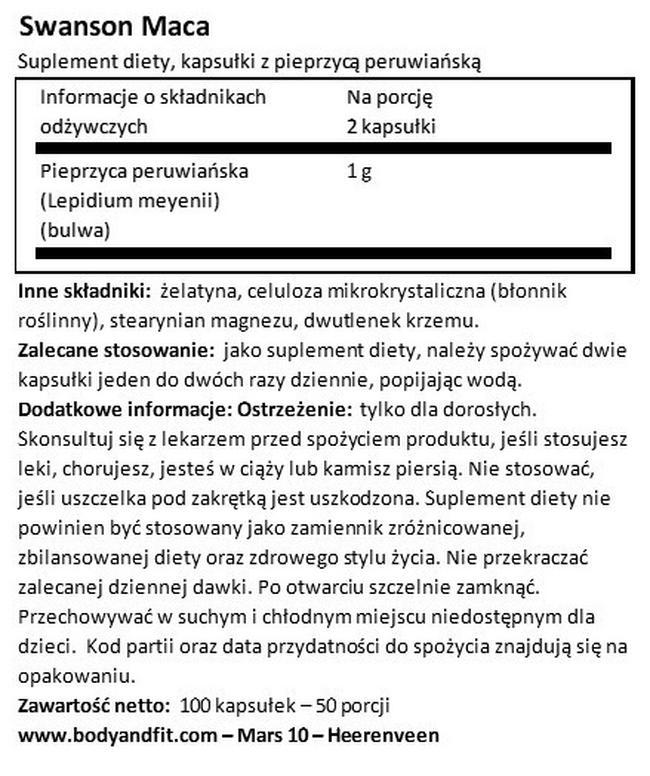 Kapsułki z pieprzycą peruwiańską 500 mg Nutritional Information 1