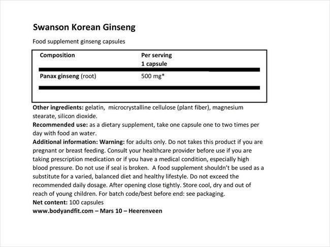 Korean Ginseng 500mg Nutritional Information 1
