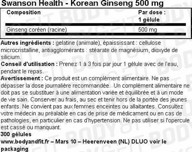 Korean Ginseng 500mg Nutritional Information 1