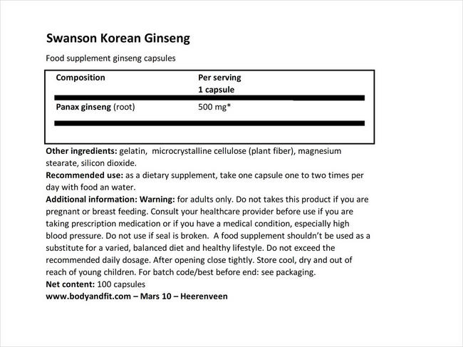 コリアンジンセン 500mg Nutritional Information 1