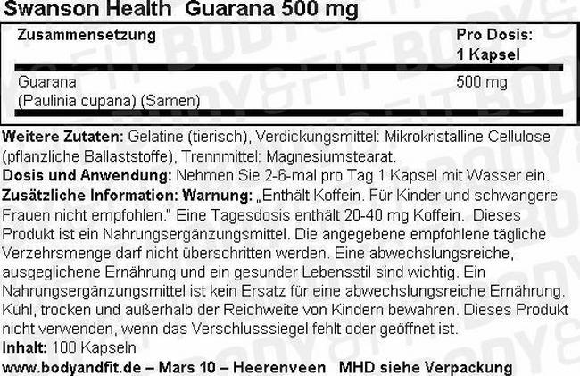 Guarana 500 mg Nutritional Information 1