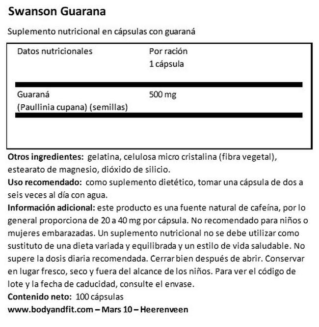 Guarana 500 mg Nutritional Information 1