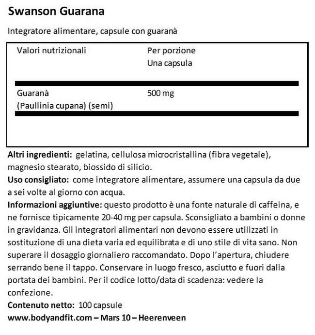 Guaranà 500mg Nutritional Information 1