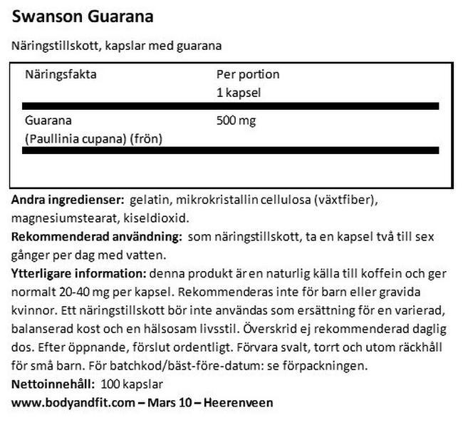 Guarana 500mg Nutritional Information 1