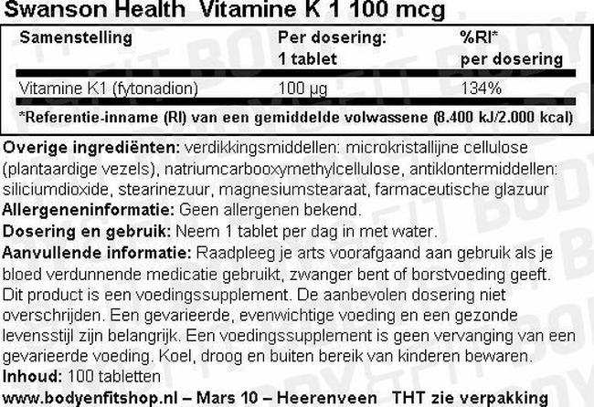 Vitamine K-1 100mcg Nutritional Information 1