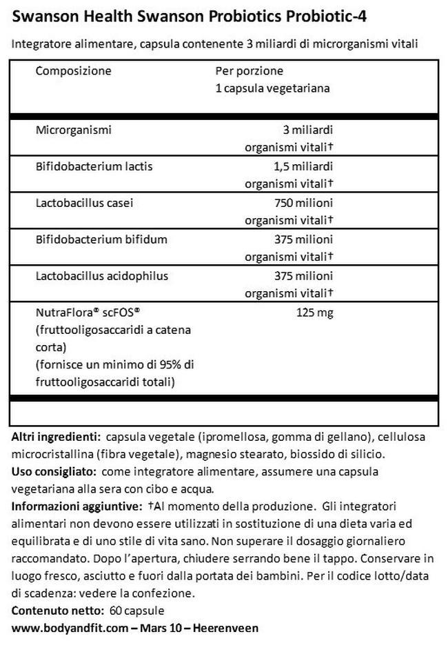 Probiotics Probiotico - 4 Nutritional Information 1
