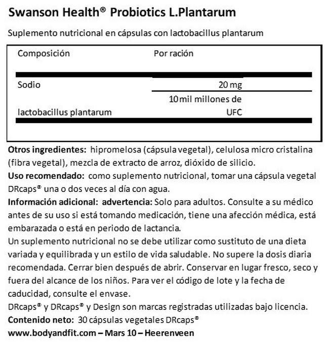 Probiótico L-Platarum Nutritional Information 1