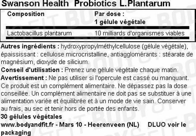 Probiotics L.Plantarum Nutritional Information 1