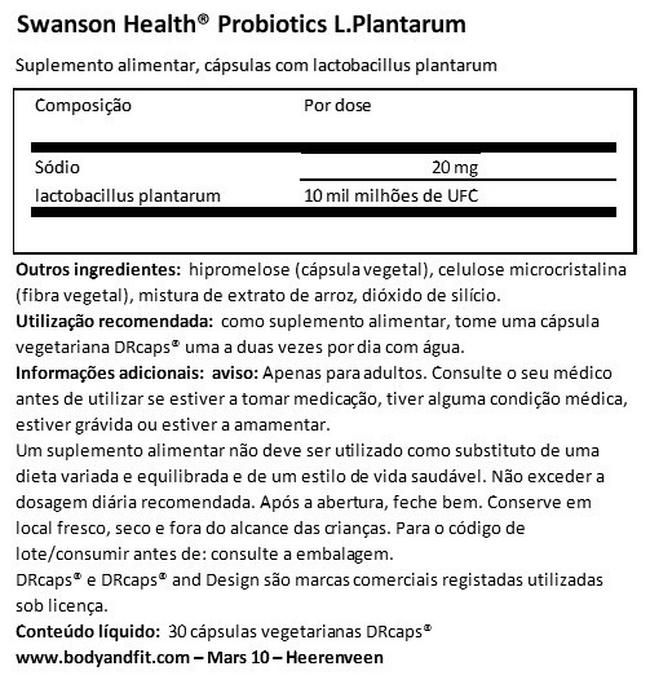 Probiotics L.Plantarum Nutritional Information 1