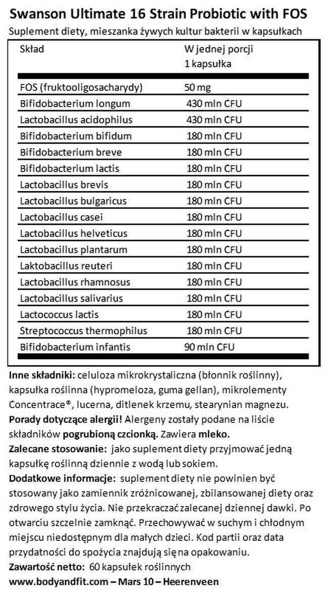 Probiotic Ultimate 16 Strain Probiotic Nutritional Information 1