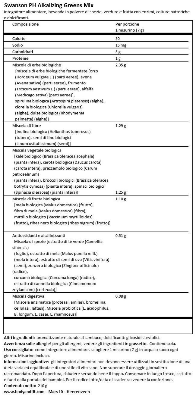 Alkalizing Greens Drink Mix Nutritional Information 1