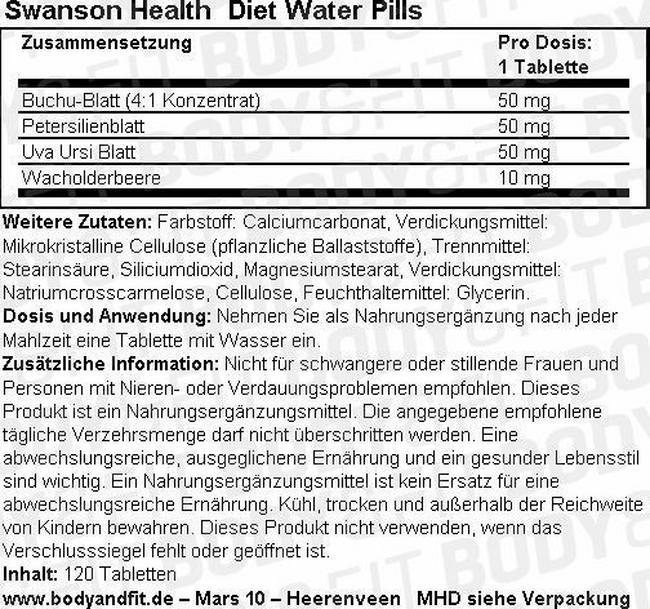 Diet Water Pills Nutritional Information 1