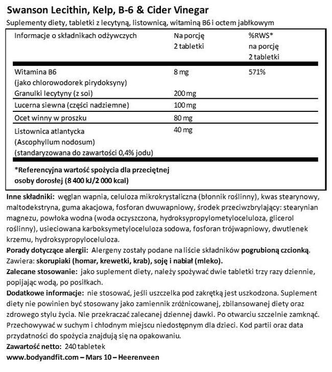 Diet Lecithin, Kelp, B-6 & Cider Vinegar Nutritional Information 1
