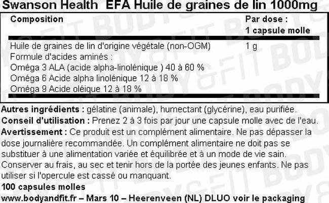 Huile de lin EFA Flaxseed Oil 1000mg Nutritional Information 1